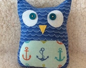 Ollie the owlet - stuffed owl - nautical a blue waves with anchor belly