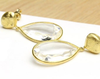 Gold Teardrop Crystal Dangle Earrings Classy Earrings Bridal