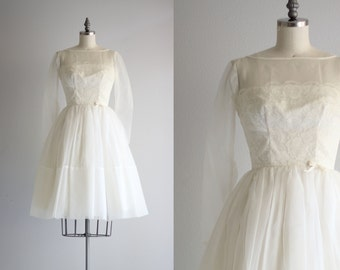 Vintage Wedding Dress . 1950s 50s Full Skirt Dress . Short Wedding Dress