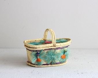 Straw Basket Bag / Vintage Picnic Bag / Retro Woven Basket Tote