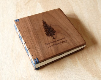 custom engraved wood memorial guest book wedding or cabin guestbook black walnut rustic anniversary  personailzed journal  - made to order