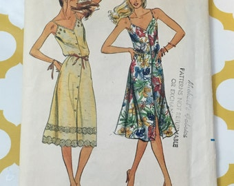 1980's Butterick Sewing Pattern 3169 Misses Spagetti Strap Summer Dress Size 16 cut-sewing pattern,70's summer dress, button front dress