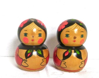 Russian Folk Art Dolls Wooden Doll Red Roses Hand Painted Soviet Era USSR Set of 2