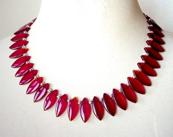 Wine Red Fringe Necklace, Bold Red Necklace, Red Dagger Necklace, Deep Red Statement Necklace, Ethnic Necklace
