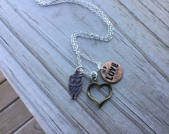 Owl Mixed Metals Charm Necklace- Owl, Heart, LOVE- with your choice of chain