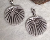 NEW Hill Tribe Charms - Flat Fine Silver Charms with Radiating Design -  2 Earring Dangles -  13mm C206