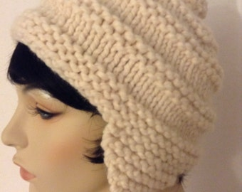 Hand Knit Chunky Earflap Hat with Pom Pom, Vanilla Creme, gifts for her