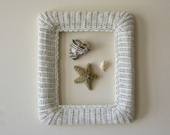 Vintage Large Rattan Picture Frame, Summer Decor, Beach House, Shabby Chic