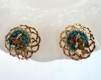 Signed Vendome Pearl Turquoise Rhinestone  Earrings Clip On