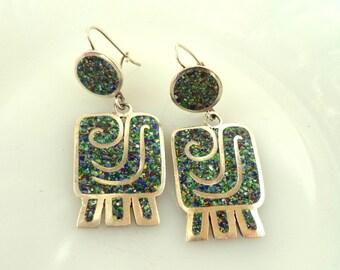 Margot de Taxco Confetti Enamel Sterling Dangle Earrings Unsigned