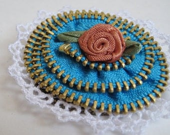 Rose Blue Zipper Brooch Pin