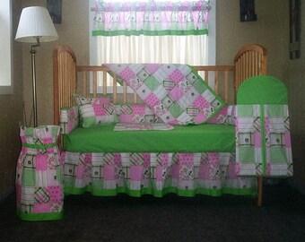 10 Piece John Deere Pink And Green Plaid Baby Quilt Set, Nursery Set  6