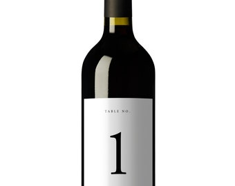 Wine Table Numbers, Wine Label Table Numbers, Table Numbers, Wedding Table Numbers, Wine Bottle Labels, Printable, Template, Simple