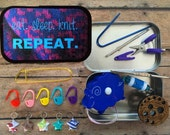 Knitter's Tool Tin - Eat. Sleep. Knit. Repeat. Altered tin with knitting and sewing notions!