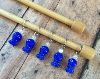 Blue Octopus Stitch Markers - Set of 5 for your knitting project bag