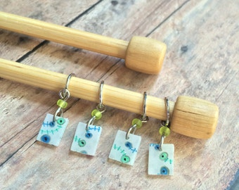 Hand Drawn Blue/Green Knitting Stitch Markers - Set of 4 made of snag free plastic