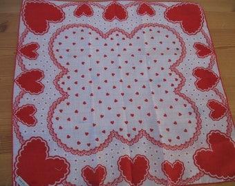 Vintage Valentine Handkerchief,  Heart Hanky