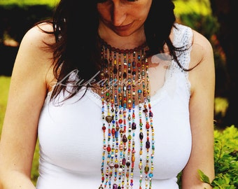 African Masai Beaded necklace,Afrocentric Statement necklace,Multistranded African necklace