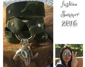 leather bracelet Style military, green leather bracelet, military jewelery, trendy leather bracelet, silver charm pendant, wrapped bracelet
