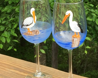 Hand painted wine glasses -  Pelicans