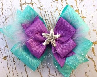 Ariel Hairbow, Little Mermaid, Disney Princess Hairbow, Princess Bow, Ariel Bow, Ariel birthday, Little Mermaid tutu, Ariel Costume, hairbow