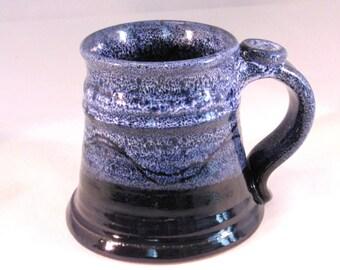 12 oz. Tankard, Stein, Coffee Mug - Handmade Pottery Glazed Dark Cobalt Blue and Light Frosted Blue