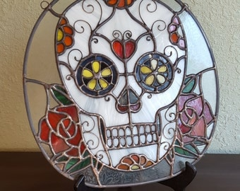 Digital Stained Glass Pattern - Dia de los Muertos Sugar Skull | Day of the Dead Sugar Skull • Resale Friendly