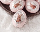 Easter Bunny Egg - Pink Spun Cotton Easter Egg Decoration