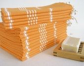 SALE 50 OFF/ Head and Hand Towel / Classic Style / Orange - White striped