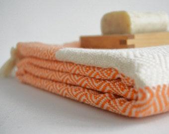 Diamond Bathstyle Turkish BATH Towel Peshtemal -A- Orange - Bath, Beach, Spa, Swim, Pool Towels