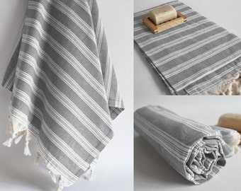 SALE 70 OFF/ Turkish Beach Bath Towel Peshtemal / Gray No1 / Wedding Gift, Spa, Swim, Pool Towels and Pareo