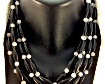BLACK ONYX and WHITE Necklace with Sterling Silver Clasp Choker Modern Contemporary, Ethnic