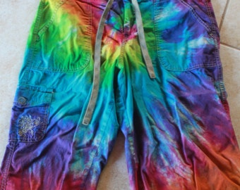 Tie dye Dockers capri shorts upcycled AS IS