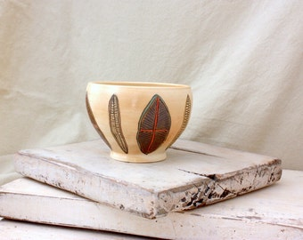 Ceramic Wood Soda fired Bowl with Diatom Carvings
