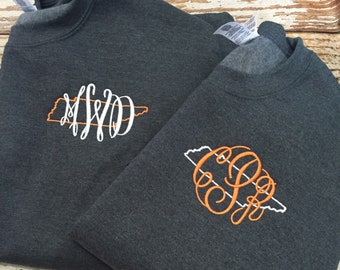 Monogrammed Tennessee Sweatshirt, Tennessee Vols Sweater, Monogrammed top, ANY STATE AVAILABLE, state love shirt