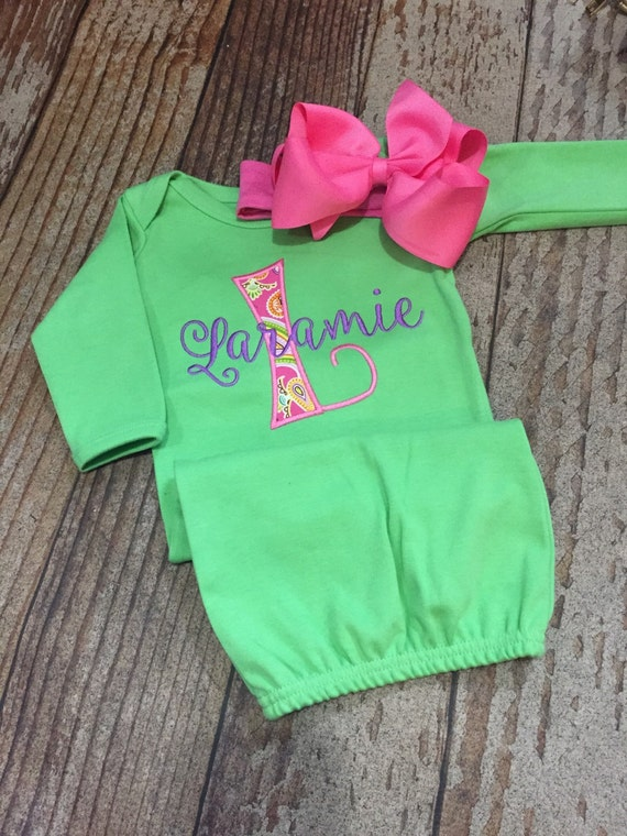 Baby Girl Coming Home Outfit Personalized Gown By Skkilby21