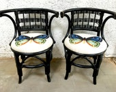 RESERVED Bamboo Chair Pair Wood Wicker Chairs Upholstered Butterfly Fabric Butterflies Accent Black Chairs Bohemian Decor Sunroom