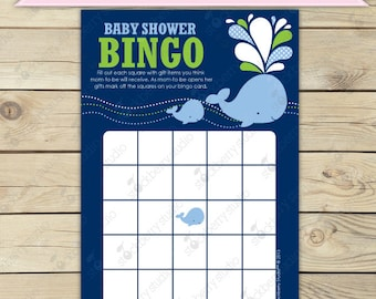 Whale Baby Shower Bingo Game - Green Navy Blue - Whale Baby Shower Games Printable  Instant Download - Nautical Baby Shower Bingo Cards -