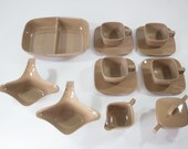 Set of Brown Melmac Dishes - Cups, Saucers, Cream and Sugar Set, Divided Dish and Gravy Boats - 14 Pieces