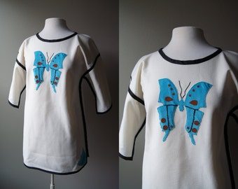 Vintage 70's Boho Tunic Butterfly Top Bohemian Top Long Top Peasant Graphic Blouse 70's Top Medium Large Butterfly Blouse Long Blouse