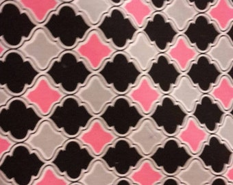 Fuschia minky with quatrefoil black and pink fabric Infant car seat cover - Custom order