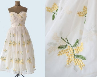 1950s Party Dress Yellow Sprig Embroidery size S