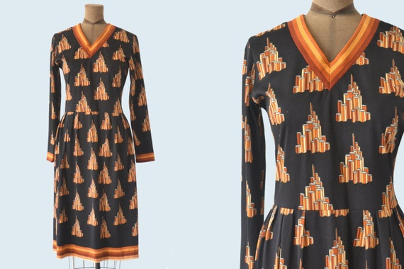 1960s Lanvin Geometric Print Dress size M