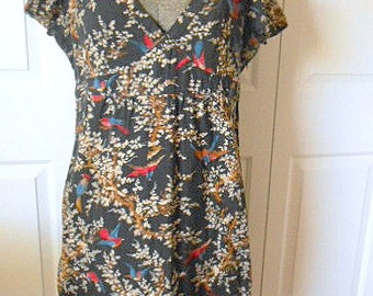 Vintage cotton lined Bird print casual Dress
