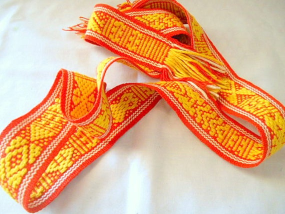 Vintage woven and embroidered cotton mexican belt