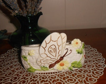 Vintage 1970's Irice Lipstick Tube Holder with Butterfly - Made in Japan