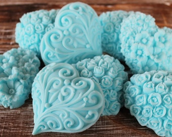 20 Baby Blue Heart Soap Favors:  Wedding Favors, Birthday Favors, Beach Favors, Baby Shower Favors, Mothers Day
