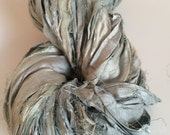 Sari silk ribbon, silver grey, 200g, craft ribbon, knitting ribbon, sari ribbon bracelet yarn, eco yarn.