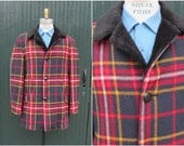 Vintage 1960's Pendleton Jacket | Wool Plaid with Faux Fur Collar | 60s Car Coat  | Mod, Rockabilly, Western, Scooter |Size Mens Large