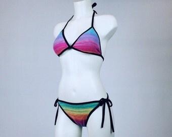 90's Crochet Rainbow Stripe Bikini // S - L